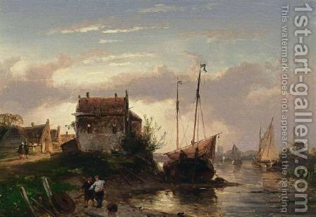 A Town By A River At Dusk by Charles Henri Leickert - Reproduction Oil Painting