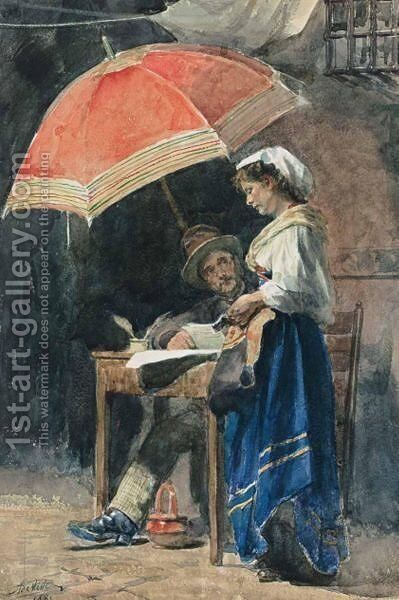 The Letter by Adrien De Witte - Reproduction Oil Painting