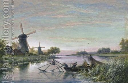 Fishermen By A Windmill by Cornelis Christiaan Dommelshuizen - Reproduction Oil Painting
