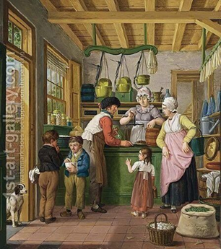At The Grocery Shop by Cornelis Van Cuylenburgh - Reproduction Oil Painting