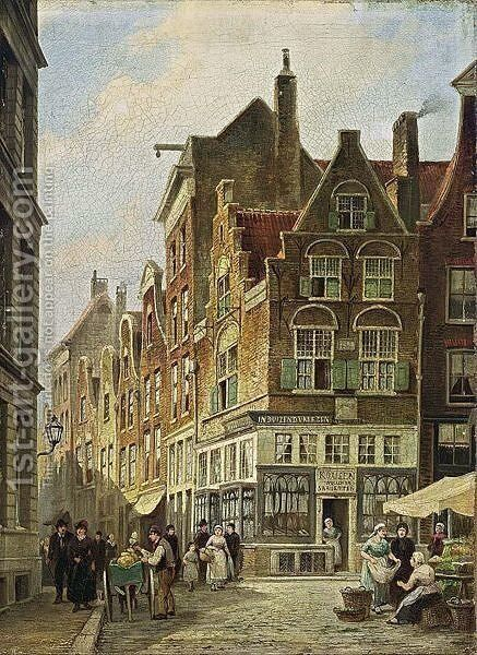 Townsfolk In The Streets Of  Amsterdam by (after) Willem De Haas Hemken - Reproduction Oil Painting