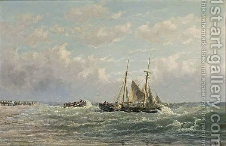 Shipping Near The Coast by Hendrik Hulk - Reproduction Oil Painting