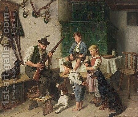 Watching The Hunter by Adolf Eberle - Reproduction Oil Painting