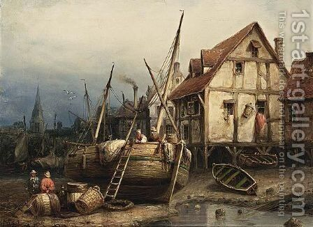 Figures In A Harbour At Low Tide by Eduard Hildebrandt - Reproduction Oil Painting