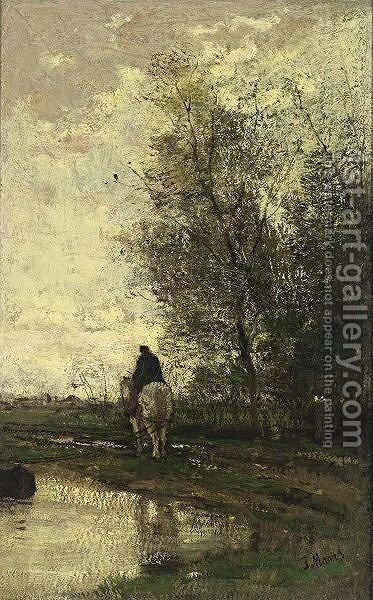 On The Tow-Path by Jacob Henricus Maris - Reproduction Oil Painting