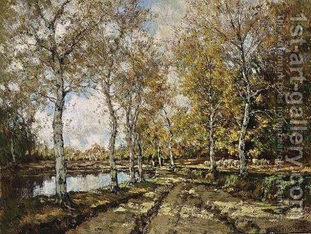 Sheep In A Sunny Autumn Landscape by Arnold Marc Gorter - Reproduction Oil Painting