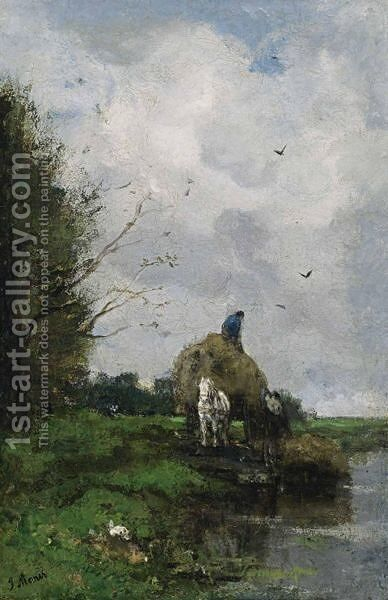 Loading The Hay Barge by Jacob Henricus Maris - Reproduction Oil Painting