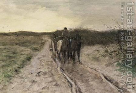 A Horse-Drawn Cart On A Country Road by Anton Mauve - Reproduction Oil Painting
