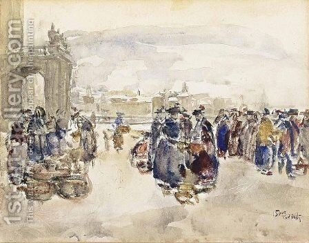 The Egg Market In Bern by Isaac Israels - Reproduction Oil Painting