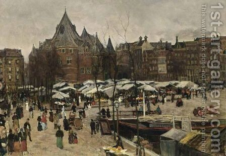 Market Day At The Nieuwmarkt, Amsterdam by Geo Poggenbeek - Reproduction Oil Painting