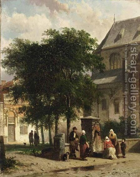 Figures Behind The Church, Woerden by Cornelis Springer - Reproduction Oil Painting