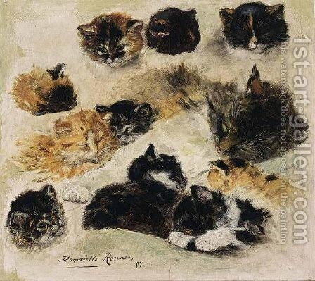 A Study Of Cats 2 by Henriette Ronner-Knip - Reproduction Oil Painting