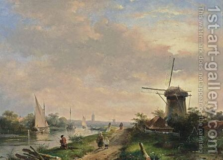 A Summer Landscape With Figures Walking Along A Waterway by Charles Henri Leickert - Reproduction Oil Painting