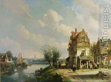 A View Of A Dutch Town With Figures By A Vegetable Stall by Charles Henri Leickert - Reproduction Oil Painting