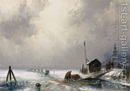 Winter Landscape With Figures On The Ice by Charles Henri Leickert - Reproduction Oil Painting