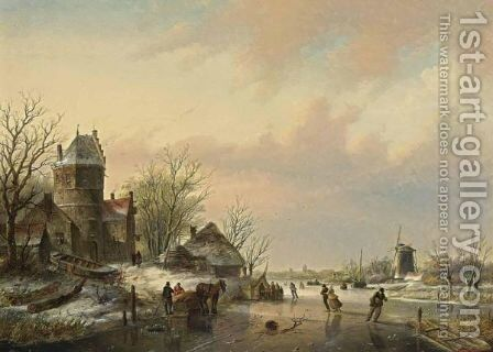 A Winter Landscape With Skaters Near A  A'Koek En Zopie A' by Jan Jacob Coenraad Spohler - Reproduction Oil Painting
