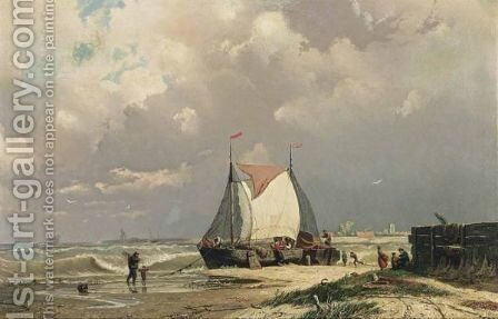 Bomschuiten On The Beach by Johan Conrad Greive - Reproduction Oil Painting