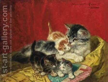 Kittens Playing With A Fan by Henriette Ronner-Knip - Reproduction Oil Painting