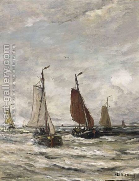 Bomschuiten At Sea 4 by Hendrik Willem Mesdag - Reproduction Oil Painting