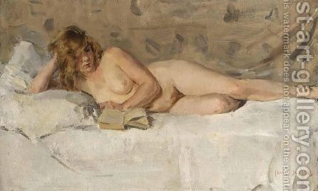 A Reclining Female Nude Reading by Isaac Israels - Reproduction Oil Painting