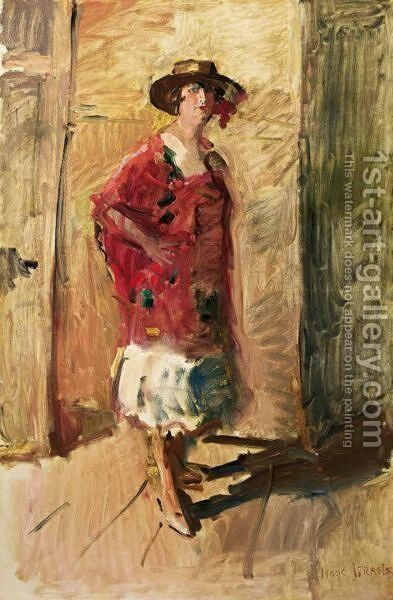 A Full Length Portrait Of An Actress In A Hat by Isaac Israels - Reproduction Oil Painting
