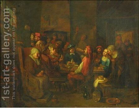 Tavern Scene by (after) Jacob Van Toorenvliet - Reproduction Oil Painting