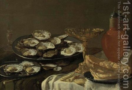 Still Life With Oysters, Jug And Tazza by Antwerp School - Reproduction Oil Painting