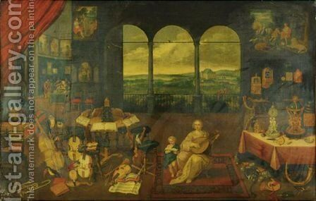 The Musician's Studio by (after) Jan, The Younger Brueghel - Reproduction Oil Painting
