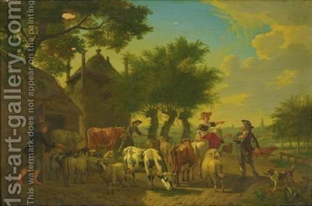 An Extensive Landscape With Shepherds, Sheep, Goats And Cows by Jan van Gool - Reproduction Oil Painting