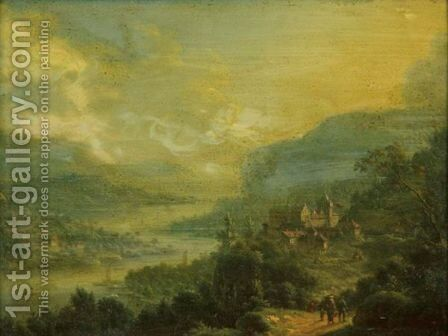 Travelers In An Extensive River Landscape With Castle by Johann Christian Vollerdt or Vollaert - Reproduction Oil Painting