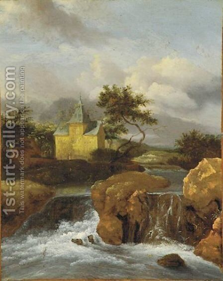 River Landscape by (after) Salomon Van Ruysdael - Reproduction Oil Painting