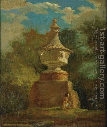 View Of A Garden With A Classical Monument by French School - Reproduction Oil Painting