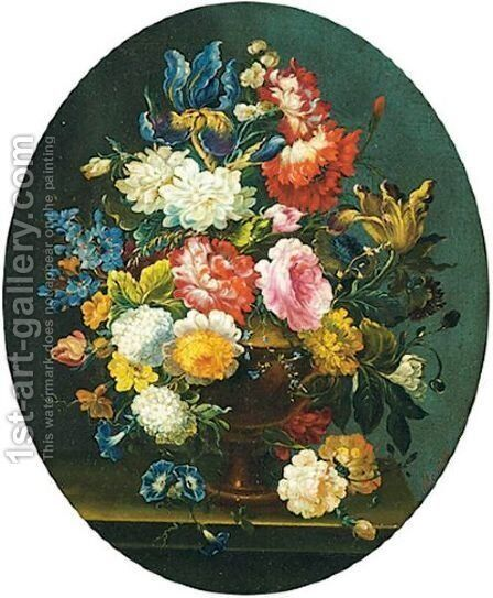 Floral Still Lifes A Pair Of Paintings by Antoine-Aglae Margry - Reproduction Oil Painting