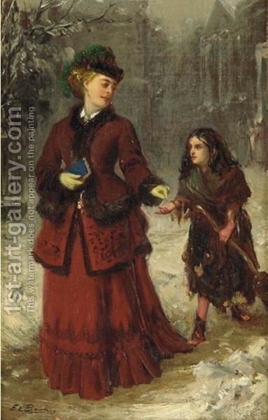 The Little Beggar by Edward Charles Barnes - Reproduction Oil Painting