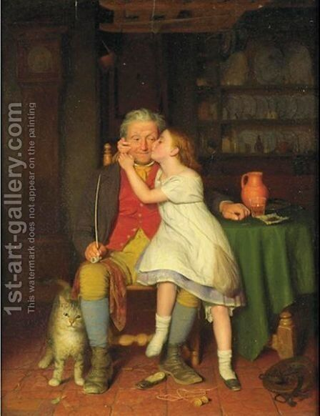 Kissing Grandpa by Edward Thompson Davis - Reproduction Oil Painting