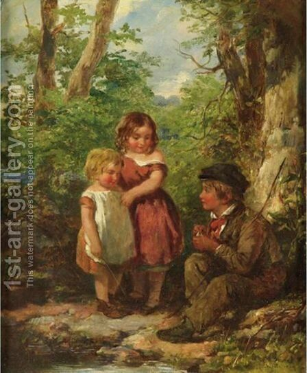 The Young Anglers by James Jackson Curnock - Reproduction Oil Painting
