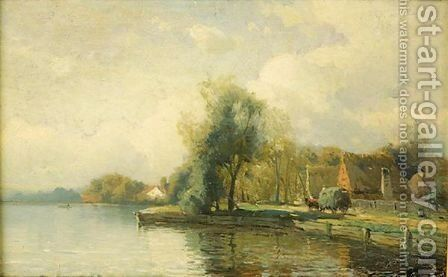 Landscape With Pond by Gustaf Fredrik Rydberg - Reproduction Oil Painting