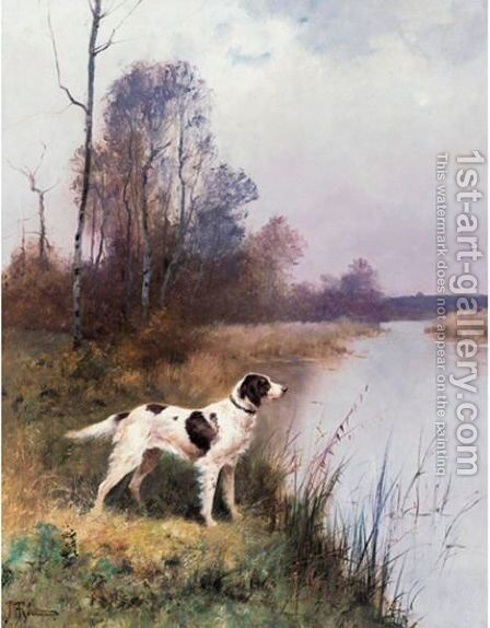 A Setter In An Extensive Landscape by Continental School - Reproduction Oil Painting