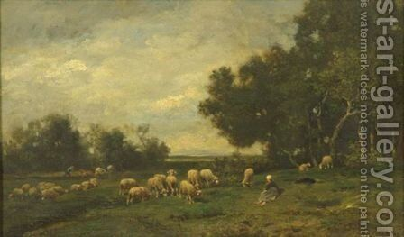 Relaxing Among The Flock by Charles Émile Jacque - Reproduction Oil Painting