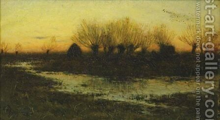Evening, Winter Sky by Charles Harold Davis - Reproduction Oil Painting