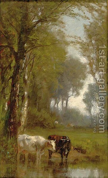 The Watering Hole by James McDougal Hart - Reproduction Oil Painting