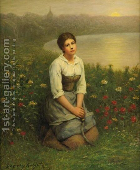 Peasant Girl, Picardy by Daniel Ridgway Knight - Reproduction Oil Painting