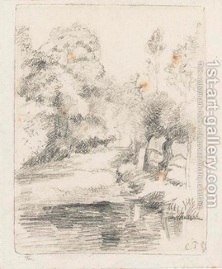 View Of Trees And Brook by Camille Pissarro - Reproduction Oil Painting