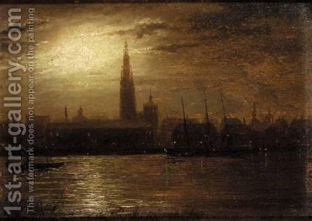 Moonlight On The Thames by (after) Walter Meegan - Reproduction Oil Painting