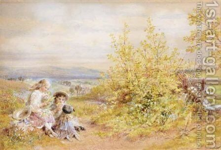 Picking Wild Flowers by (after) William Stephen Coleman - Reproduction Oil Painting