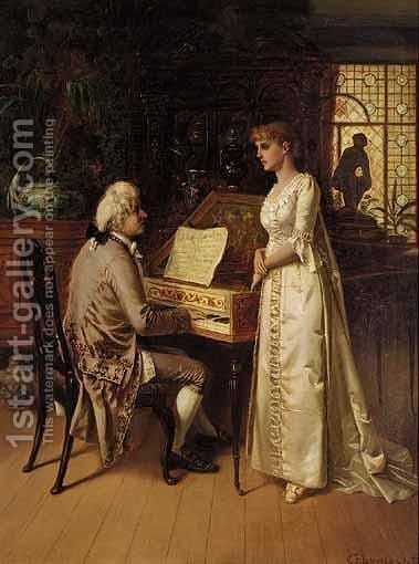 The Duet by Charles Frederick Lowcock - Reproduction Oil Painting