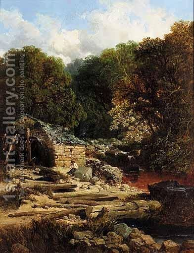 Fisherman By A Watermill by Edmund John Niemann, Snr. - Reproduction Oil Painting