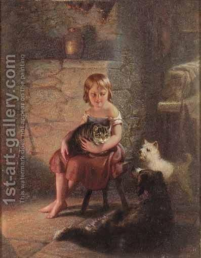 Kitty's Pets by Benjamin Franklin Reinhart - Reproduction Oil Painting