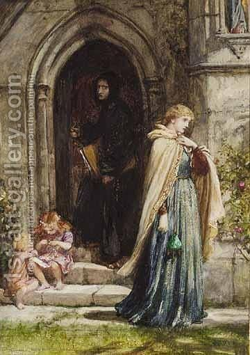 Within The Shadows Of The Church The Vows by Sir Frank Dicksee - Reproduction Oil Painting