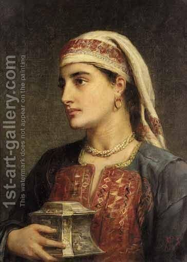 Mrs Patrick Campbell In Balkan Dress by Edwin Longsden Long - Reproduction Oil Painting